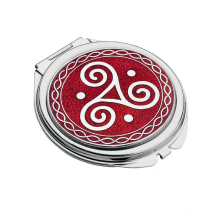 Red Compact Mirror Celtic Triskele
